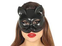 Маска кошки.  Маска чёрной кошки.  Чёрная маска кошки.  (крепкий пластик, глянец). Маска кошки Николаев., фото 1