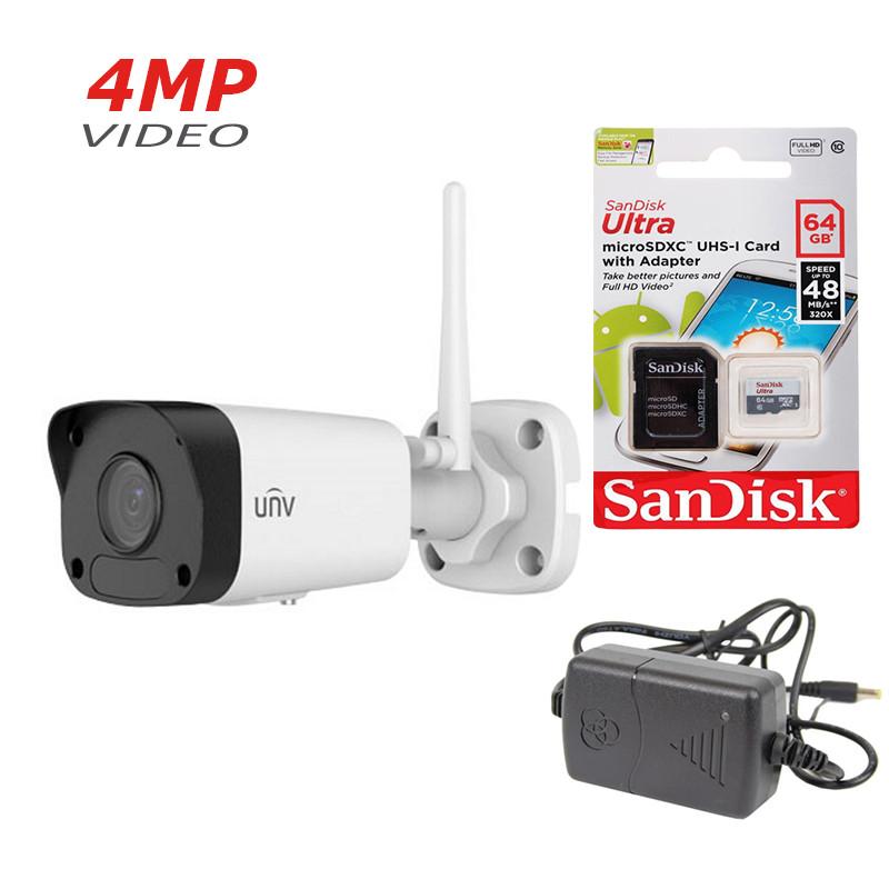 4 Мп вулична IP Камера Uniview IPC2124LR3-F40W-D Wi-Fi+ подарунок SD карта 64 Gb