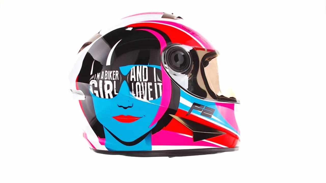 Мотошлем, Мотоциклетный шлем Интеграл (full-face) (mod:B-500) (Размер:XL, бело-розово-голубой) BEON