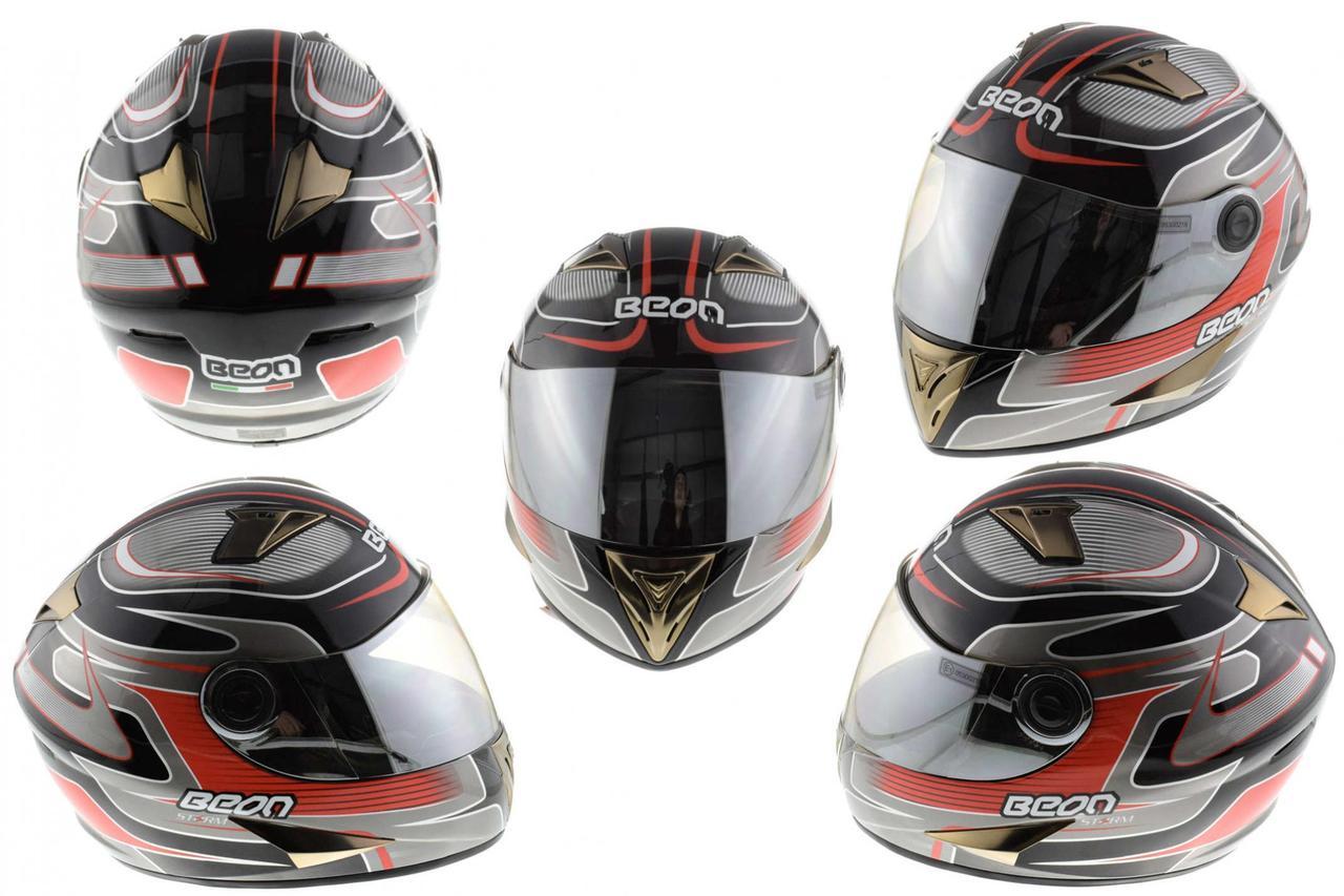Мотошлем, Мотоциклетный шлем Интеграл (full-face) (mod:B-500) (Размер:M, черно-серо-красный) BEON