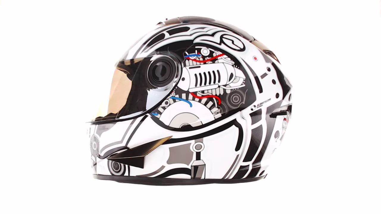 Мотошлем, Мотоциклетный шлем Интеграл (full-face) (mod:B-500) (Размер:L, черно-белый) BEON
