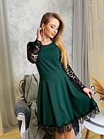 Платье с расклешенной юбкой и гипюровой спинкой 41mpl709, фото 1