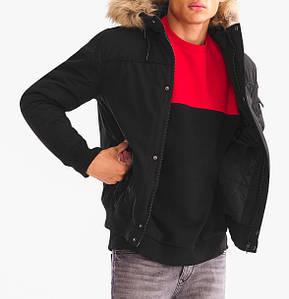 Мужская черная короткая куртка C&A c капюшоном зимняя