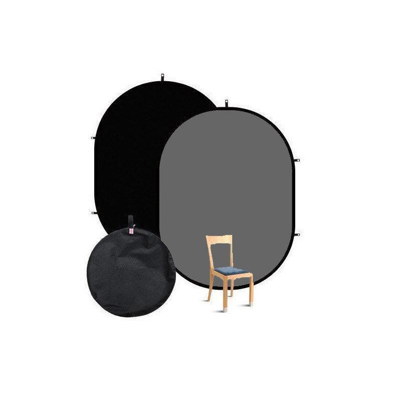 1,5x2м Фон на пружине Visico BP-028 2в1 (черный/ серый) складной