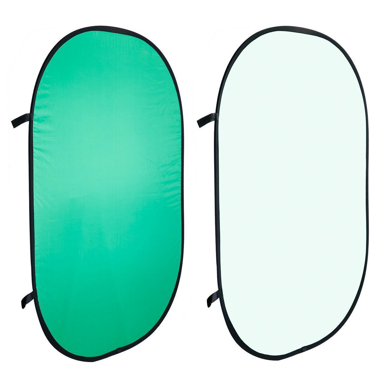 1,5x2м Фон хромакей на пружине Visico BP-028 2в1 Chroma Key (зелёный / белый) складной