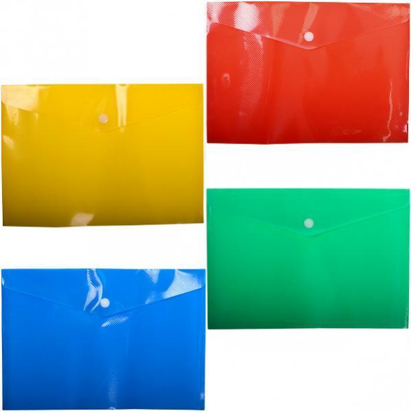 Папка А4  пластиковая на кнопке.  Цвет: зелёный и синий