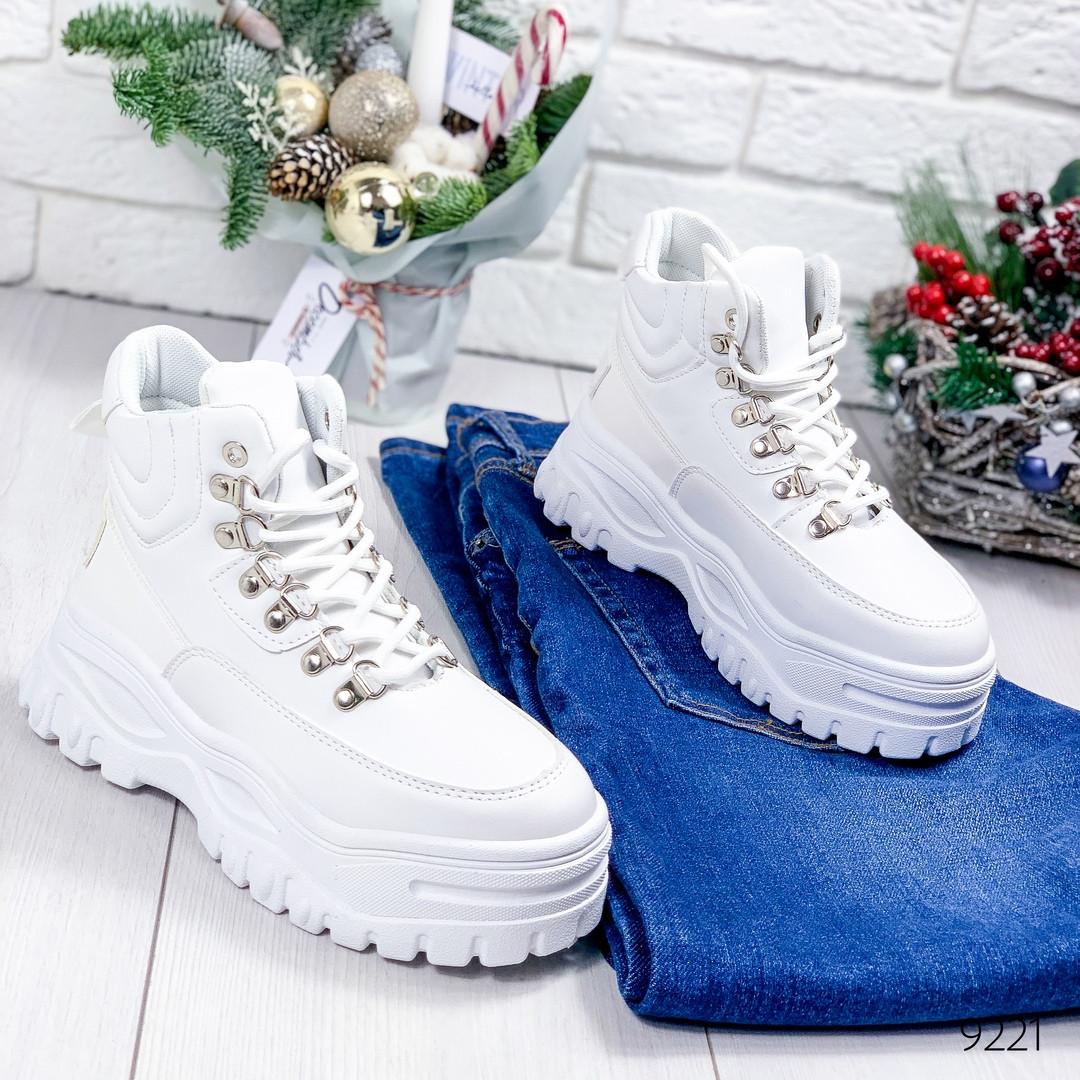 Ботинки женские белые эко кожа белая подошва12\9221