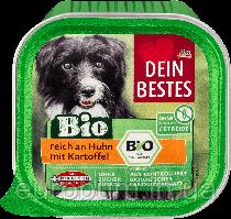 Dein Bestes Bio паштет для собак Органическая курица с картофелем 150 г  (Германия)