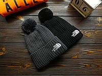Крутые вязанные шапки с помпоном The North Face (TNF) , очень тёплые