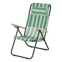 Кресло-шезлонг  Ясень текстилен зеленая  полоска