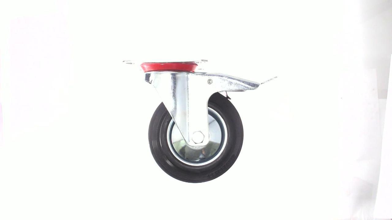 Колесо для тачек и платформ (литая резина) (в сборе с креплением и тормозом, поворотное) (160/40-80мм) MRHD