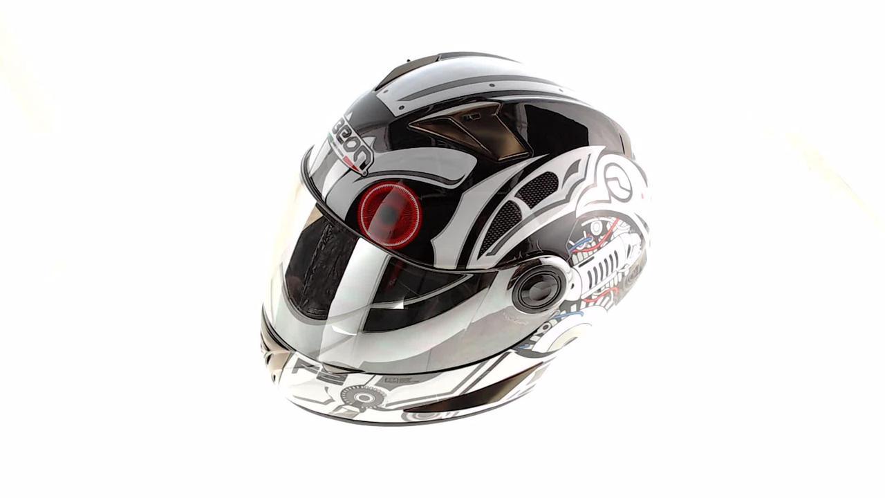 Мотошлем, Мотоциклетный шлем Интеграл (full-face) (mod:B-500) (Размер:M, черно-белый) BEON
