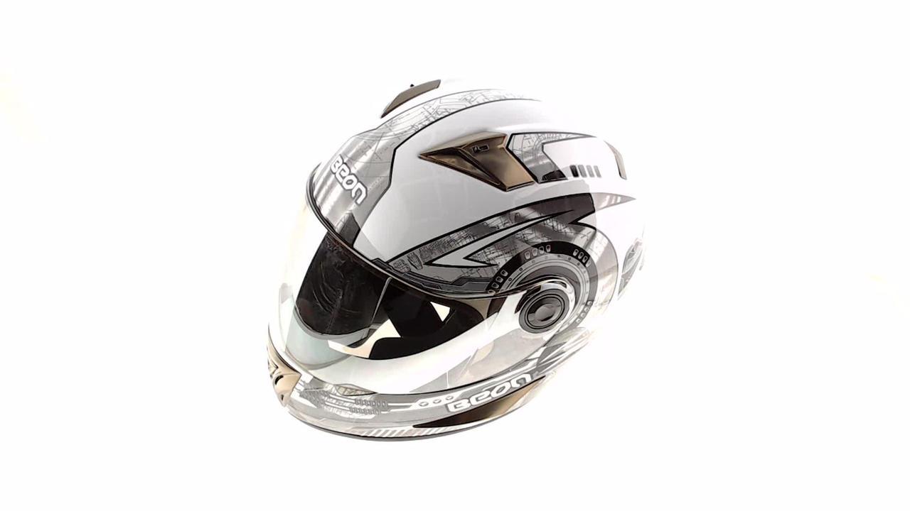 Мотошлем, Мотоциклетный шлем Интеграл (full-face) (mod:B-500) (Размер:L, черно-серый) BEON