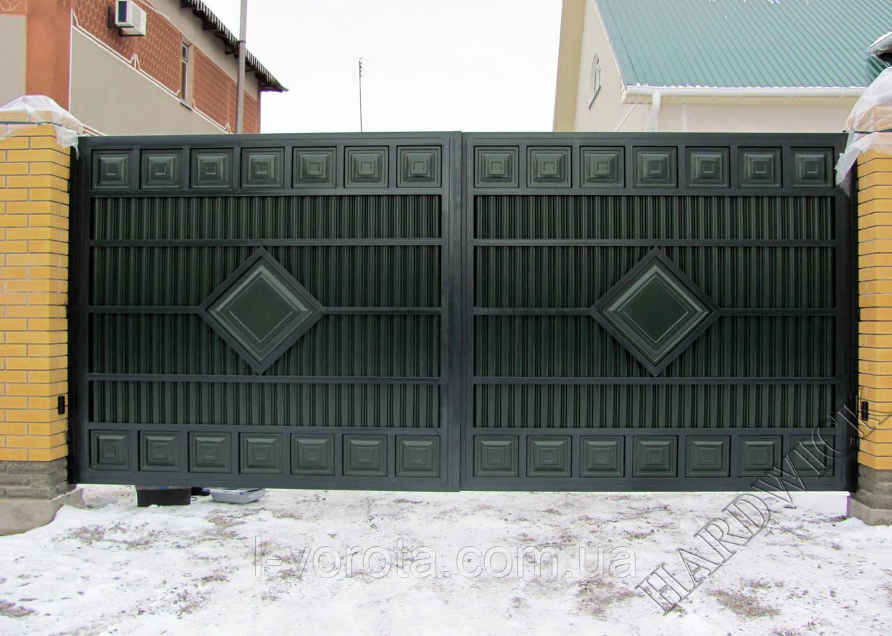 Ворота распашные металлические ш4000, в2000 ТМ Хардвик (дизайн ЛЮКС)