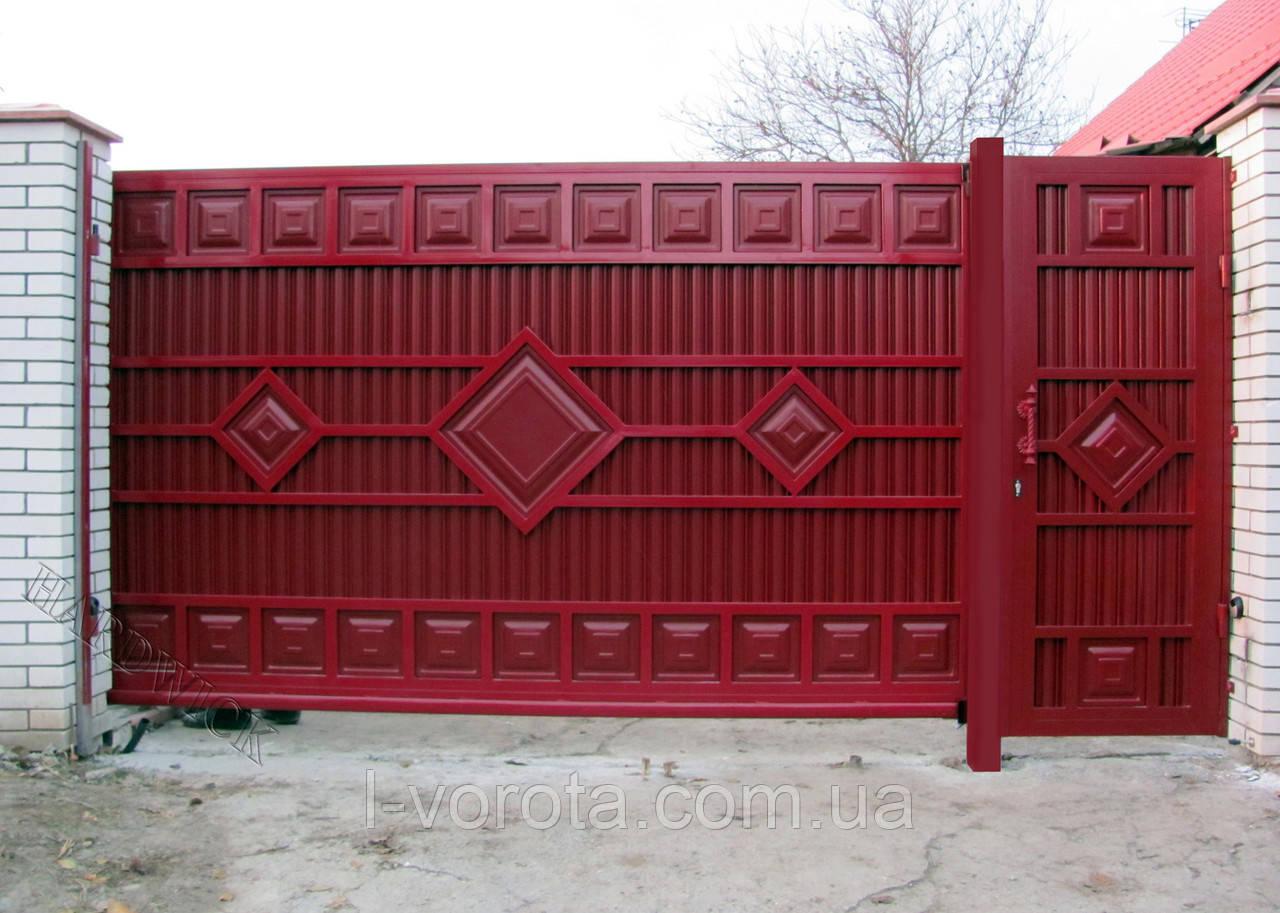 Сдвижные ворота ТМ Hardwick ш3600, в2000 и калитка ш900, в2000  (дизайн Люкс)