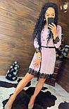 Женское красивое платье свободного кроя люрекс с кружевом (в расцветках), фото 4