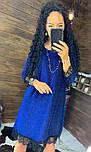 Женское красивое платье свободного кроя люрекс с кружевом (в расцветках), фото 5