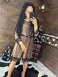 Женское красивое платье свободного кроя люрекс с кружевом (в расцветках), фото 7