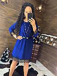 Женское красивое платье свободного кроя люрекс с кружевом (в расцветках), фото 9
