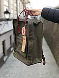 Рюкзак Канкен Fjallraven Kanken Classic Bag хаки с бордо. Живое фото. Premium replica, фото 2