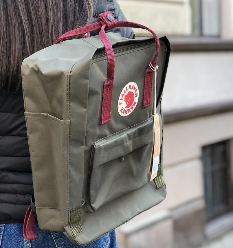 Рюкзак Канкен Fjallraven Kanken Classic Bag хаки с бордо. Живое фото. Premium replica