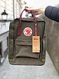 Рюкзак Канкен Fjallraven Kanken Classic Bag хаки с бордо. Живое фото. Premium replica, фото 3
