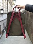 Рюкзак Канкен Fjallraven Kanken Classic Bag хаки с бордо. Живое фото. Premium replica, фото 4