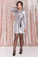 Ассиметричное платье на запах /серебро, S, M, L, MO-45013/