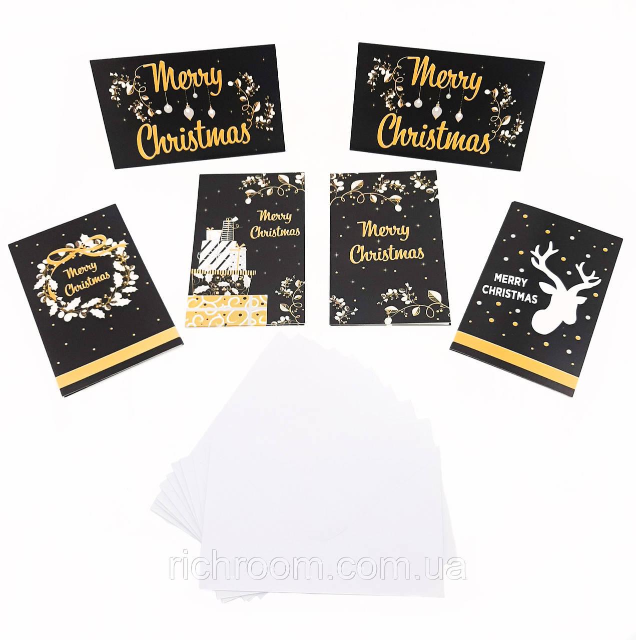 F1-00566, Набор новогодних (рождественских) открыток с конвертами (10 шт) Melinera, , разноцветный