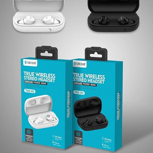 Наушники Celebrat W2 + (Box/Power Bank 2 000 mAh) (TWS Bluetooth V5.0) Black
