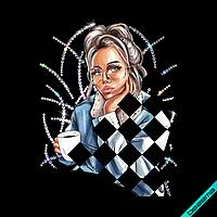 Переводки на клатчи Девушка с кофе (ss6 кристалл , ss10 кристалл)