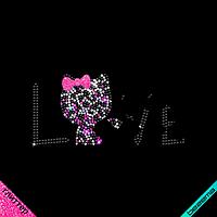Термонаклейки на ночные рубашки Котик Love (ss6 гематит,ss6 кристалл, ss6 роз)