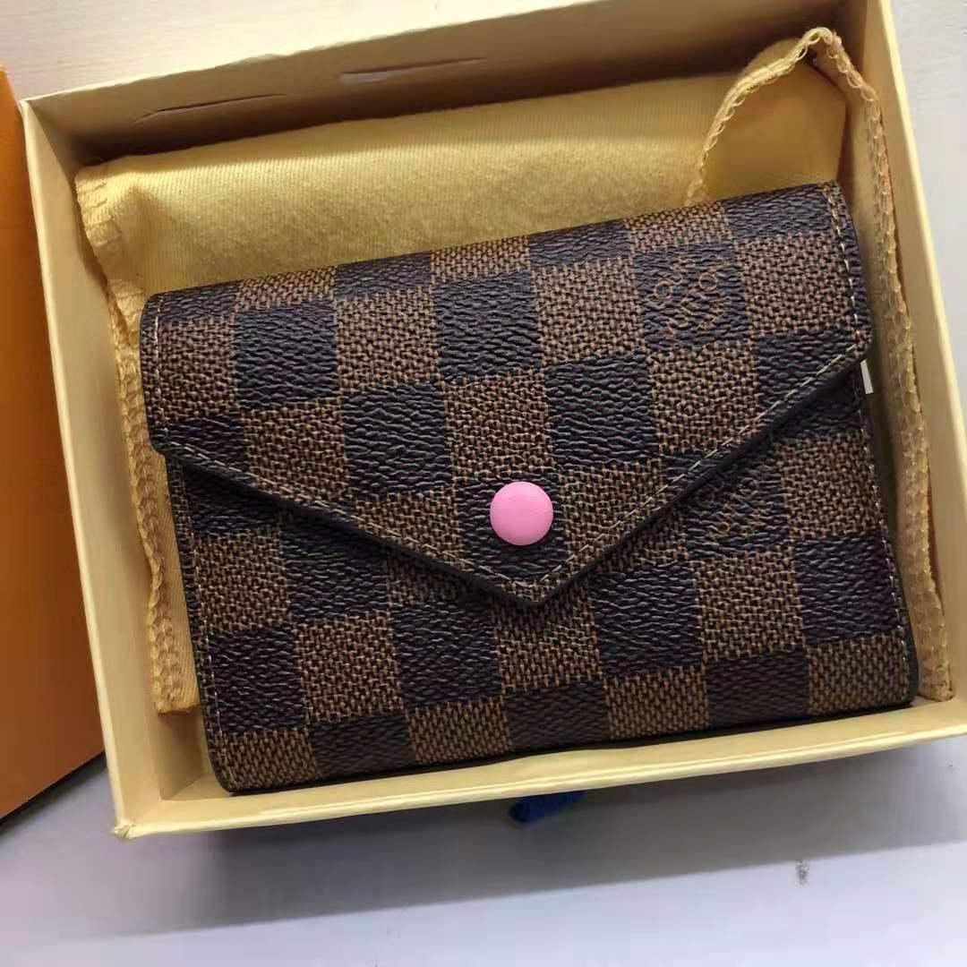 Міні гаманець люкс репліка Луї Віттон + коробочка разцветка коричневий квадрат