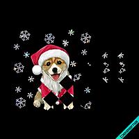 Картинки на шапки Комплект со стразами Собака Новый Год (ss6 кристалл)