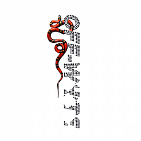 Термонаклейки на вышиванки Логотип со змеей (ss6 черн, ss10 черн)