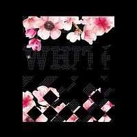 Рисунки на свитеры Логотип с цветами (ss6 черн)