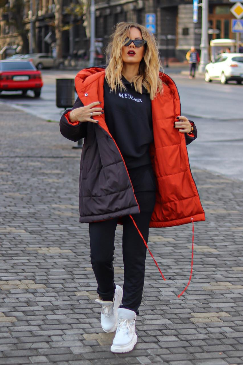Куртка женская удлиненная двусторонняя из плащевки на кнопках (К29459)
