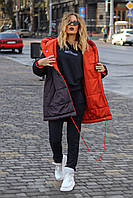Куртка женская удлиненная двусторонняя из плащевки на кнопках (К29459), фото 1