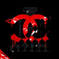 Наклейки на сумки Духи логотип (ss6 черн, ss16 черн- 69)