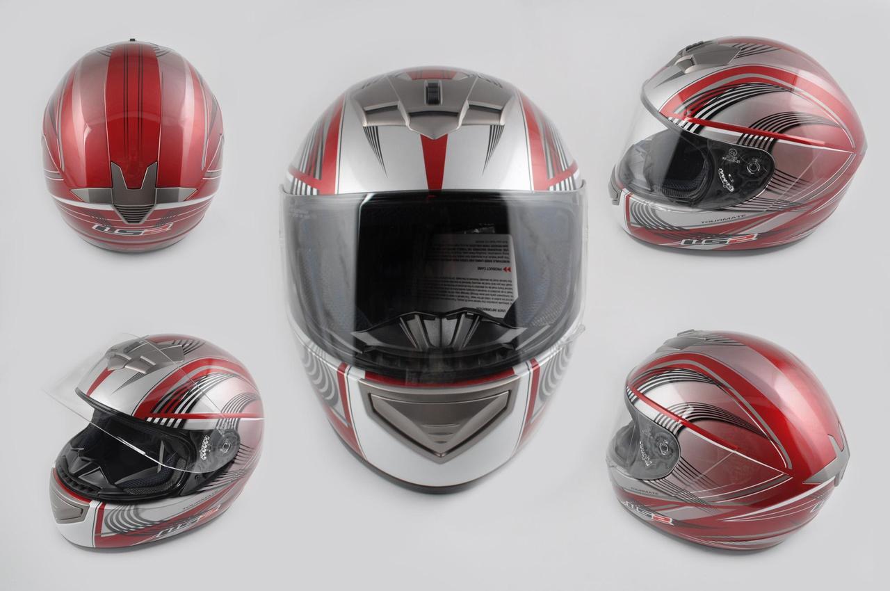Мотошлем, Мотоциклетный шлем Интеграл (full-face) (mod:368) (Размер:L, красно-серый) LS-2