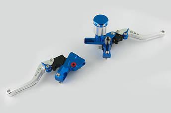 Рычаги руля (пара) универсальные (диск/барабан, ГТЦ, крепление) RIDE IT (синие)