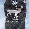 Носки женские махровые тёмно серые с оленями размер 36-41, фото 4