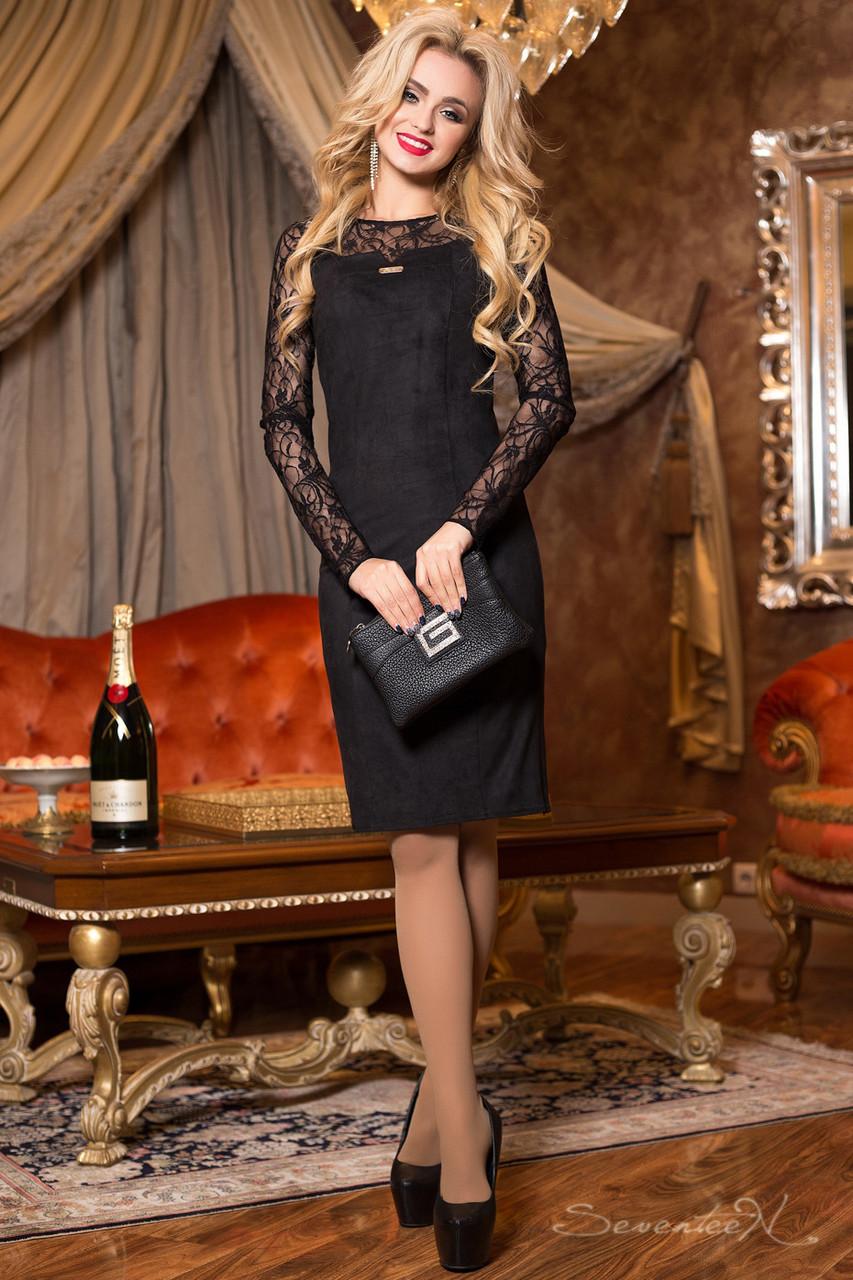 Платье чёрное нарядное элегантное с гипюром женское р. 46, эко замша, приталенное