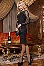 Платье чёрное нарядное элегантное с гипюром женское р. 46, эко замша, приталенное, фото 3