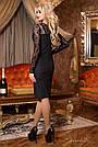 Платье чёрное нарядное элегантное с гипюром женское р. 46, эко замша, приталенное, фото 4