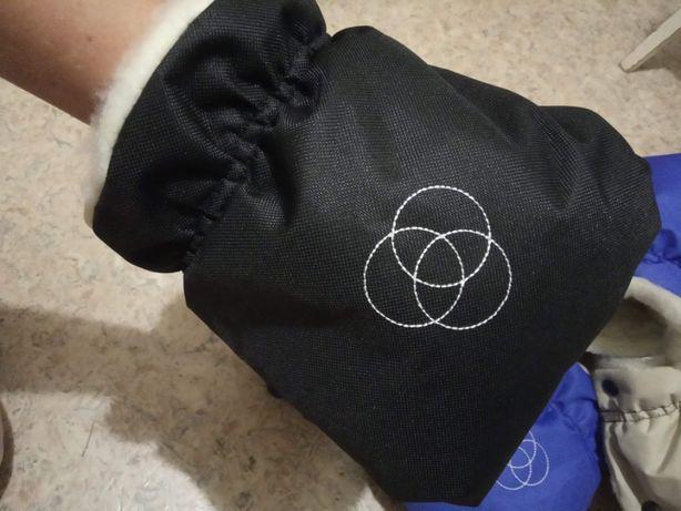 Муфта варежки теплые рукавицы для коляски черные