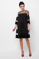 Черное вечернее двойное платье с сеткой, фото 1
