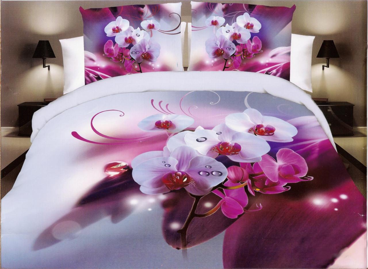 3D Постельное белье Milano Zone рисунок цветы орхидея  полуторка