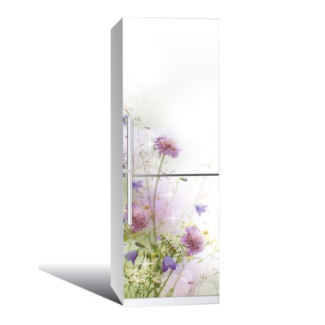 Виниловая наклейка на холодильник Полевые цветы ламинированная двойная (пленка самоклеющаяся фотопечать)