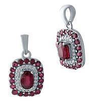 Серебряная подвеска  с рубином , фото 1